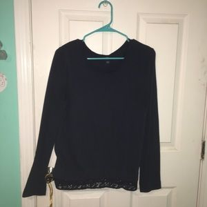 Navy blue crew neck sweater w/ lace embellishments